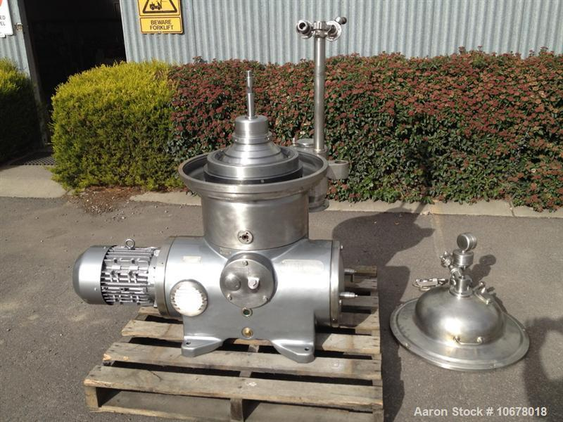 Used-Westfalia KSA 6-01-076 Desludger Disc Centrifuge, stainless steel construction (product contact areas), max bowl speed ...