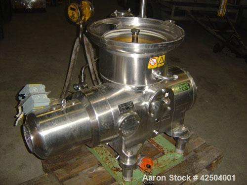 Used-Westfalia KSA 6-01-076 Solid Bowl Disc Centrifuge. Stainless steel construction, separator design, centripetal pump liq...