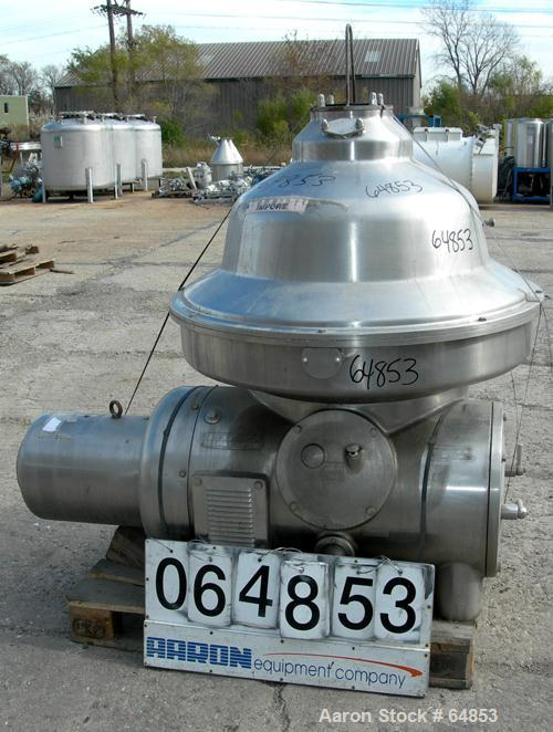 USED: Westfalia MSA-120-01-0076 desludger disc centrifuge. 316 stainless steel construction. Max bowl speed 4500 rpm, separa...