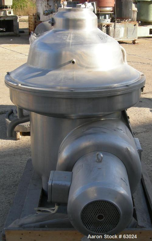 USED: Westfalia separator, type MSA-90-01-076. 316 stainless steel construction. Self-desludging. Max bowl speed 5920 rpm by...