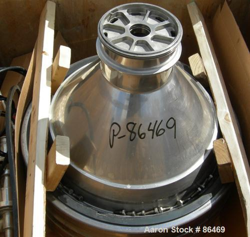 USED: Westfalia MSB200-01-076 desludger disc centrifuge. 316 stainless steel construction on product contact areas. Max bowl...