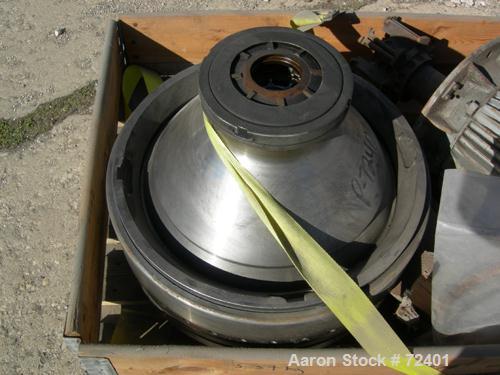USED: Westfalia OSA-335-02-066 oil purifier disc centrifuge. Max bowl speed 6500 rpm, separator design, light phase centripe...