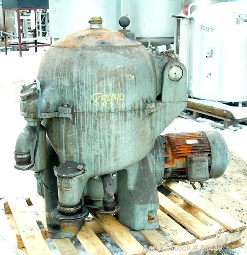 USED: Westfalia model OSA-20-03-066 oil purifier disc centrifuge. Max bowl speed 7510 rpm. Direct drive configuration 11 kw ...