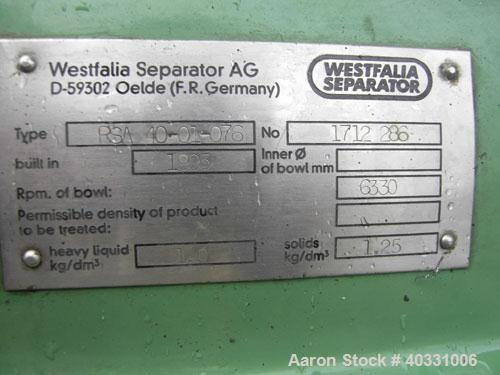 """Used: Westfalia RSA-40-01-076 """"Refining"""" Desludger Disc Centrifuge , 316 stainless steel construction (product contact areas..."""