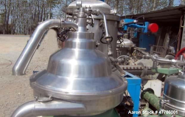 Unused- Westfalia Separator, type RSA-60-01-076. Material of construction is 316 stainless steel. Max bowl speed is 6450 rpm...