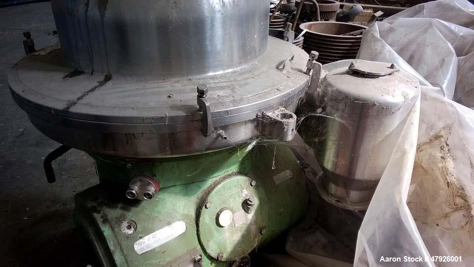 Used- Westfalia RSA-80-01-576 Refining Desludger Disc Centrifuge. Stainless steel construction (product contact areas), max ...