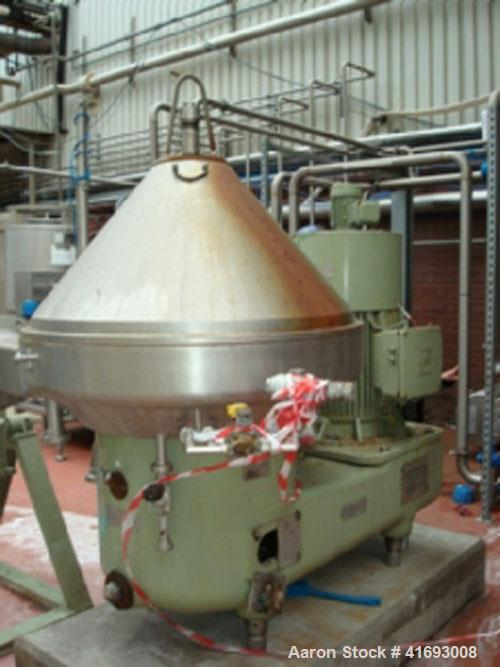 Used-Westfalia SA-100-33-777 Desludger Disc Centrifuge, stainless steel construction (product contact areas), self-thinking ...