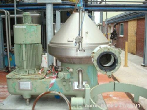 Used-Westfalia SA 100-33-777 Desludger Centrifuge, stainless steel, with self-cleaning disc and a 60 hp/45 kW belt drive at ...