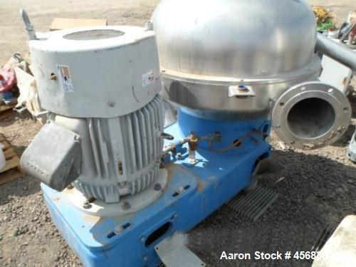 Used- Westfalia SA-100 Desludger Disc Centrifuge. 316 Stainless steel construction (product contact areas). Separator design...