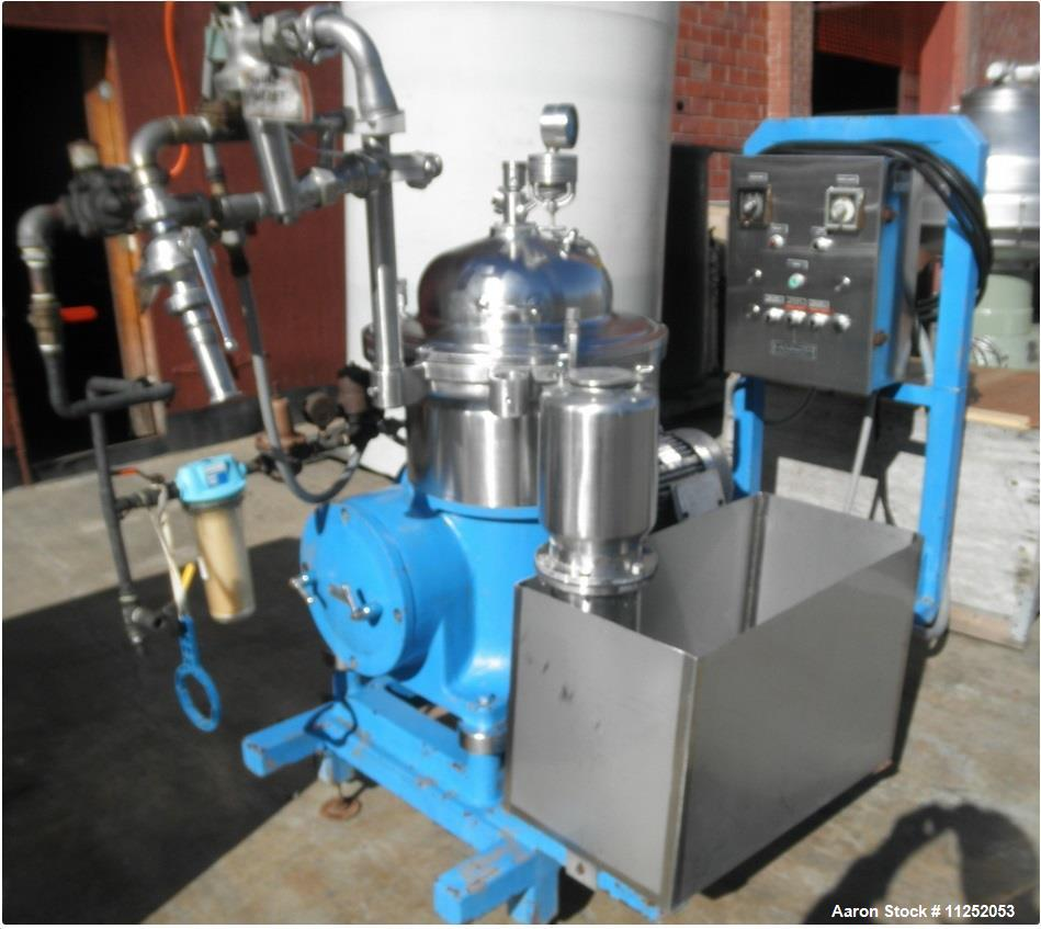Used- Westfalia SA-14-06-076 Desludger Disc Centrifug. Stainless steel construction (product contact areas). Max bowl speed ...