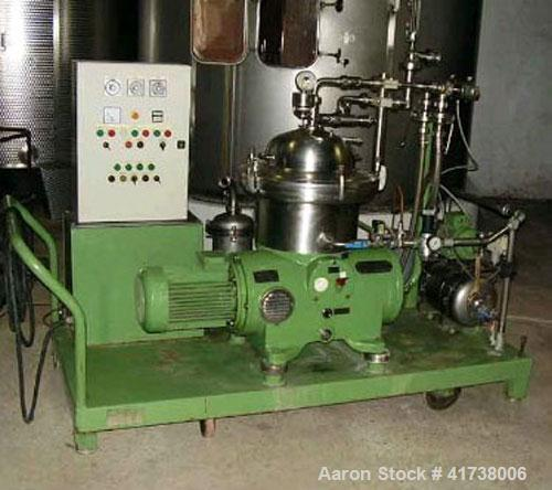 Used-Westfalia SA-14-06-076 Desludger Disc Centrifuge. Stainless steel construction (product contact areas), clarifier desig...