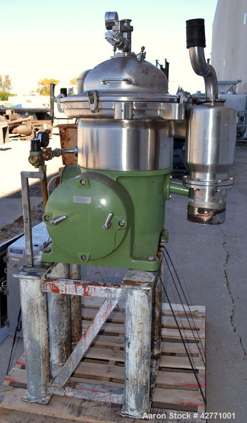 Used- Westfalia SA-14-06-076 Desludger Disc Centrifuge, 329 Stainless steel construction on product contact areas. Maximum b...
