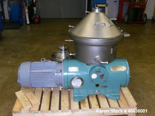 Used- Westfalia SA-19-06-076 Desludger Disc Centrifuge. 316 stainless steel construction (product contact areas), clarifier ...
