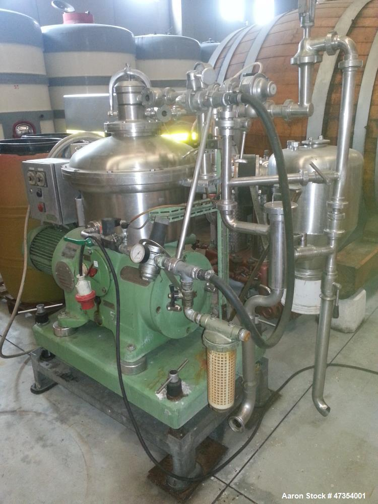 Used- Westfalia SA 19-47-076 Desludger Disc Centrifuge. 316 Stainless steel (product contact areas), maximum bowl speed 8150...
