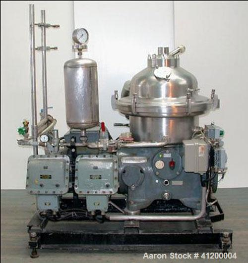 Used- Westfalia SA-20-01-576 Desludger Disc Centrifuge, separator design, capacity 12,000 l/h (3171 gallons), max speed 5950...