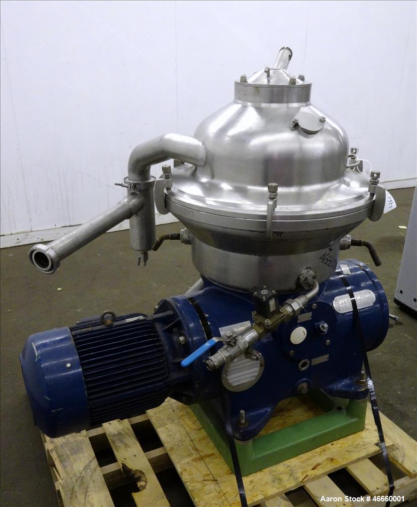 Used- Westfalia SA-20-03-076 Desludger Disc Centrifuge. 316/329 Stainless steel construction on product contact areas, separ...