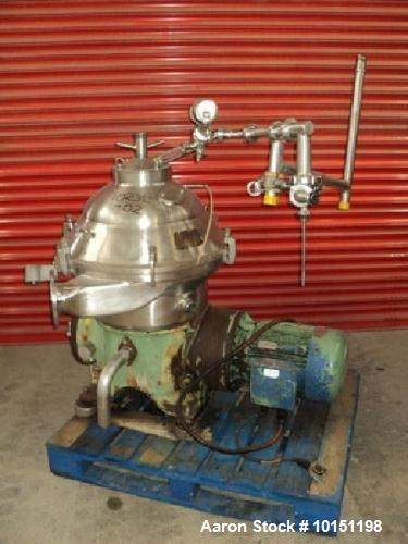 Used- Westfalia SA-20-06-076 Desludger Disc Centrifuge. Stainless steel construction (product contact areas), max bowl speed...