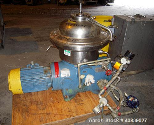 Used- Westfalia SA-20-47-576 Desludger Disc Centrifuge. 316 stainless steel construction (product contact areas), max bowl s...