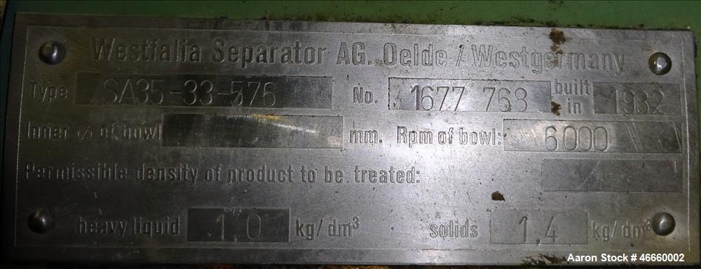 Used- Westfalia SA-35-33-576 Desludger Disc Centrifuge.