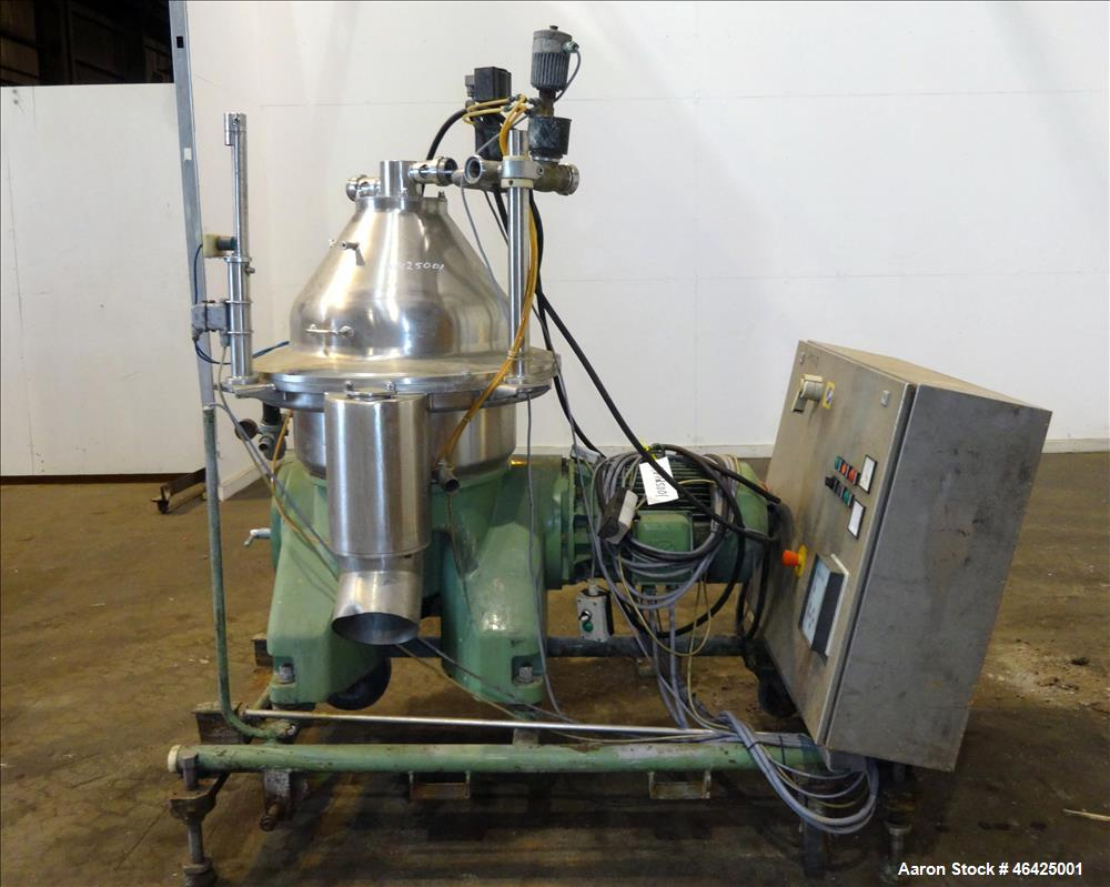 Used- Westfalia SA-35-36-076 Desludger Disc Centrifuge. 316 stainless steel (product contact areas), 6550 rpm maximum bowl s...
