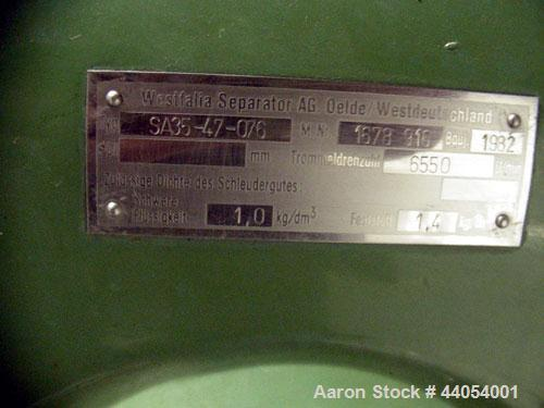 Used-Westfalia SA 35-47-076 Desludger Disc Centrifuge. Stainless steel, hermetic clarifier design. Maximum bowl speed is 655...