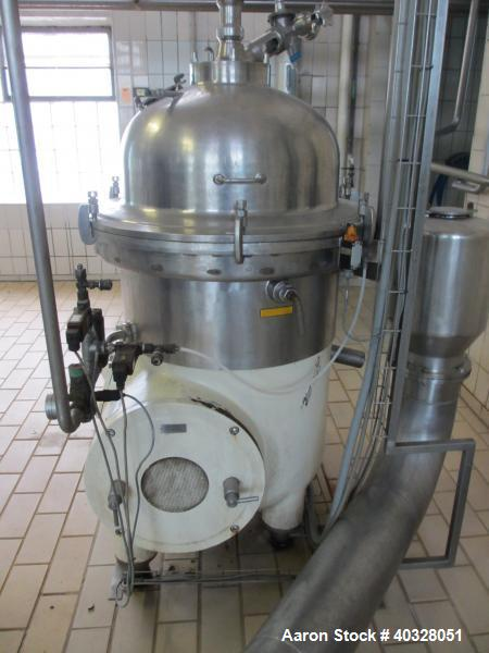 Used-Westfalia SA-60-06-076 Desludger Disc Centrifuge.  316 Stainless steel construction (product contact areas), max bowl s...