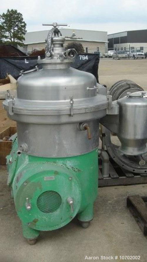 Used-Westfalia SA-60-47-076 Desludger Disc Centrifuge. 316 stainless steel construction (product contact areas), max bowl sp...