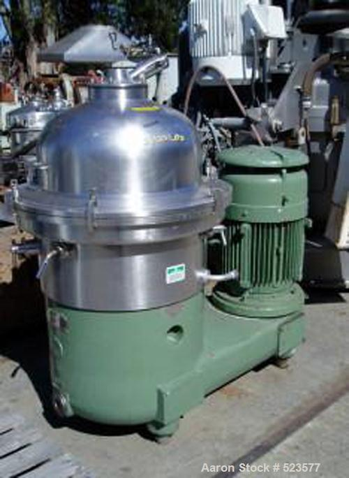 USED: Westfalia SA-60-06-177 desludger disc centrifuge. 316 stainless steel construction on product contact areas, max bowl ...