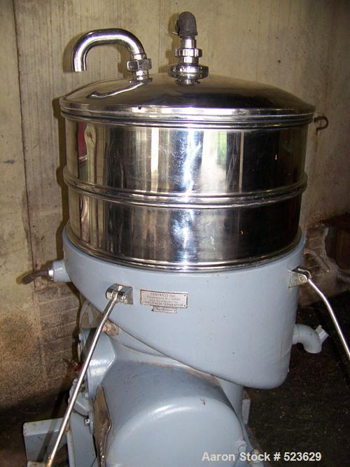 USED: Westfalia SA00M-5016 disc centrifuge, stainless steel. 3 way separator design. Max bowl speed 6500 rpm, 15 hp drive mo...