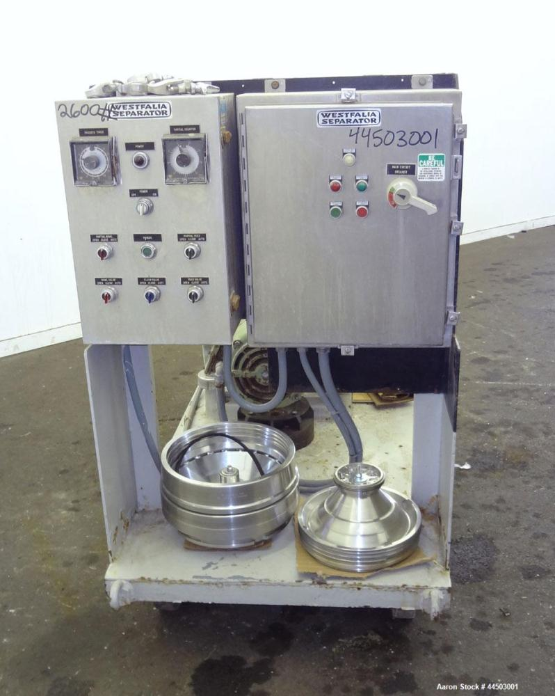 Used- Westfalia SA14-06-076 Desludger Disc Centrifuge. 329 Stainless steel construction on product contact areas. Maximum bo...