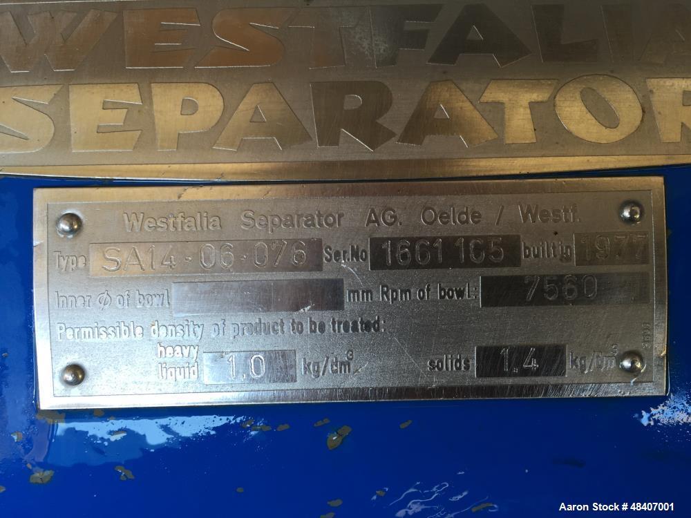 Used- Westfalia Separator, Model SA14-06-076. 7560 rpm, 7.5hp 240v 3 phase motor. Manual operating valve. Permissible densit...