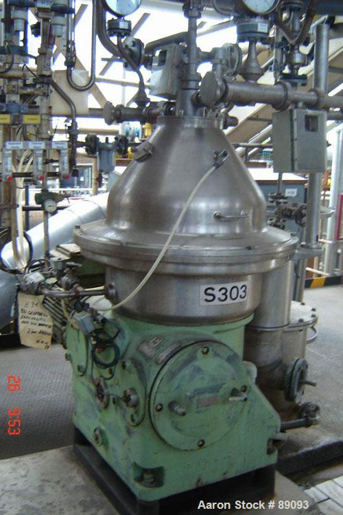 USED: Westfalia SA35-01-576 desludger disc centrifuge. 316 stainless steel construction on product contact areas, max bowl s...