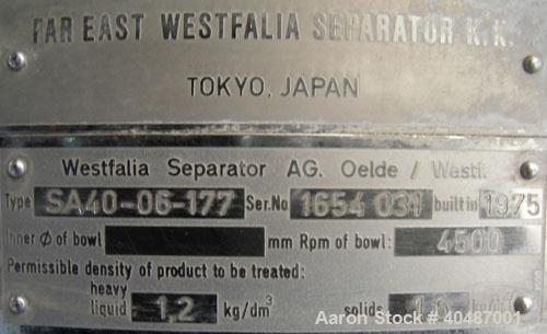 USED: Westfalia clarifier, type SA40-06-177. Material of construction is stainless steel on product contact parts. Max bowl ...