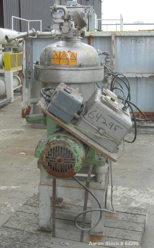Used- Westfalia SA7-06-076 Desludger Disc Centrifuge, 316 Stainless Steel Construction (Product Contact Areas). Maximum bowl...