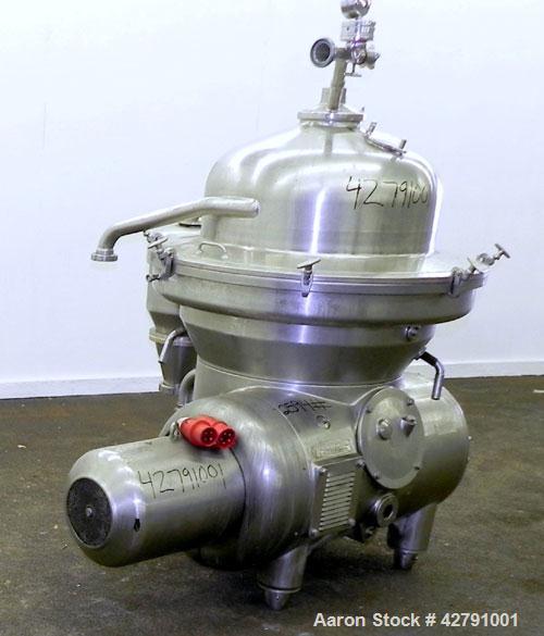 Used- Westfalia SAMM 12006 Disc Centrifuge. 421 Stainless steel construction (product contact areas). Maximum bowl speed 450...