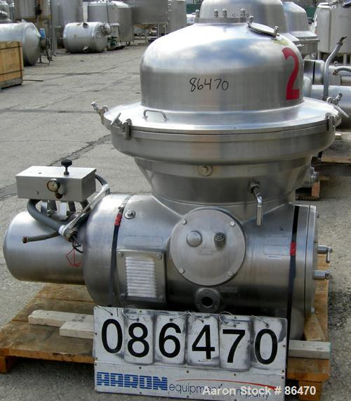 USED: Westfalia SAMM-150037 Desludger Disc Centrifuge. 316 stainless steel construction on product contact areas, max bowl s...