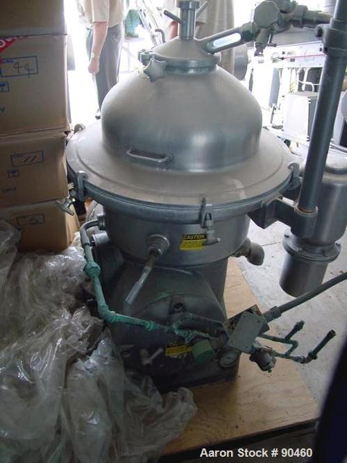 Used- Westfalia SAMN-5036 Desludger Disc Centrifuge, 329 Stainless Steel Construction (Product Contact Areas). Max bowl spee...