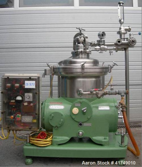 Used-Westfalia SAMP-3036 Desludger Disc Centrifuge, 316 stainless steel construction.  Max bowl speed 7500 rpm, clarifier de...