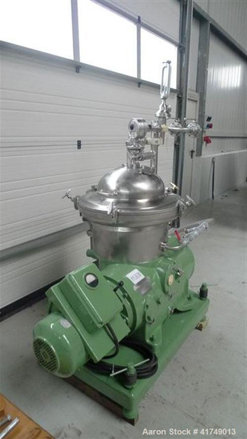 Used-Westfalia SAMR 3036 Desludger Disc Centrifuge. Stainless steel construction (product contact areas), max bowl speed 750...