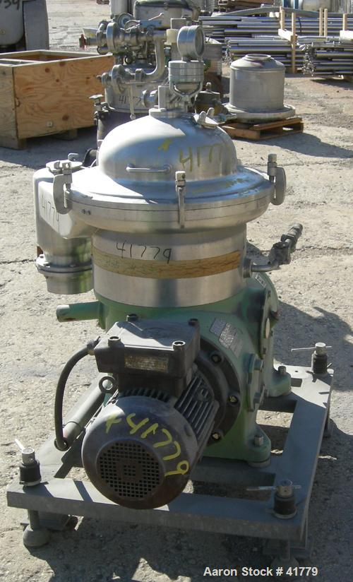 USED: Westfalia SAMR-3036 desludger centrifuge. 316 stainless steel clarifier design. Max bowl speed 7500 rpm, 7.5 kw drive ...