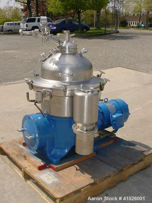 Used-Westfalia SAMR-5036 Desludger Disc Centrifuge, stainless steel construction (product contact areas). Max bowl speed 650...