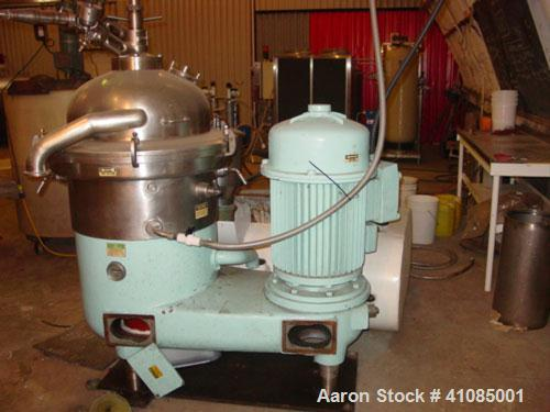 Used-Westfalia SAOH-15037 Desludger Disc Centrifuge. 316 stainless steel construction on product contact areas, approximate ...