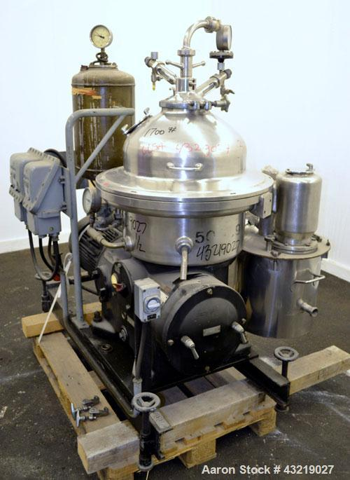 Used- Stainless Steel Westfalia Desludger Disc Centrifuge, SAOH-5036