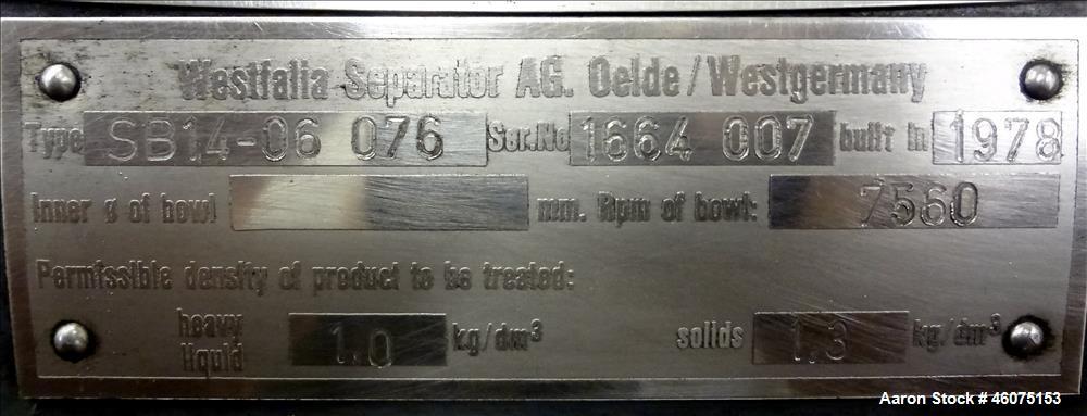 Used- Westfalia SB-14-06-076 Desludger Disc Centrifuge.