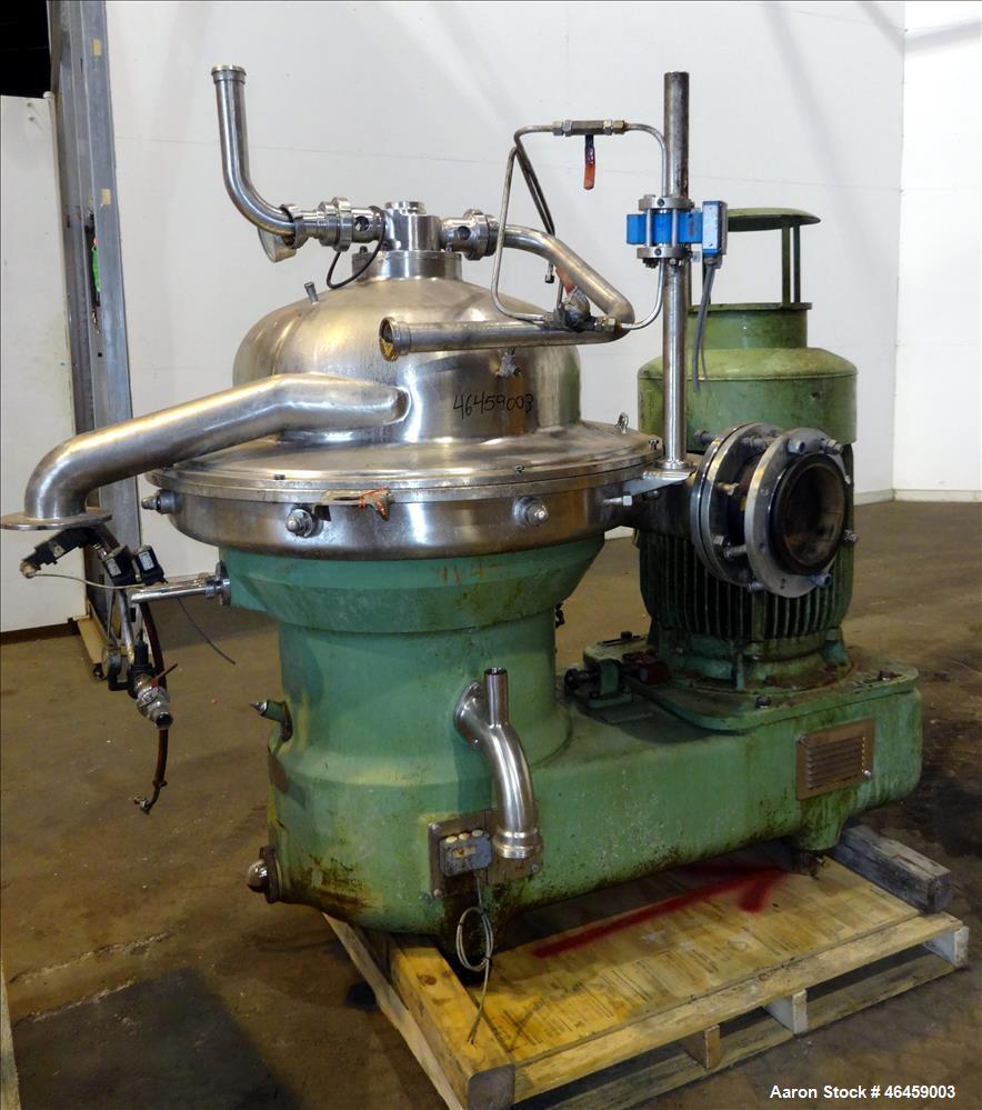 Used- Westfalia SB-80-33-177 Desludger Disc Centrifuge. 316 Stainless steel construction (product contact areas), maximum bo...