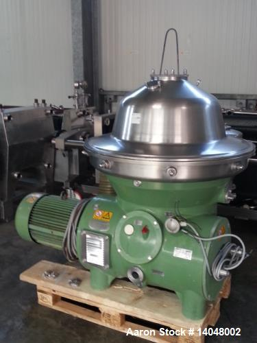 Used- Westfalia SB-80-36-076 Desludger Disc Centrifuge. 316 stainless steel on product contact areas. Max bowl speed 4500 rp...