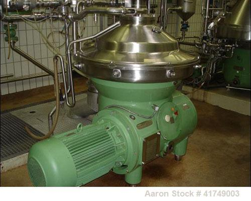 Used-Westfalia SB-80-47-076 Desludger Disc Centrifuge, max bowl speed 4500 rpm, clarifier design, hydro-hermetic, 316 stainl...