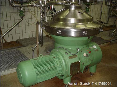 Used-Westfalia SB-80-47-076 Desludger Disc Centrifuge, max bowl speed 4500 rpm, clarifier design, hydro-hermetic, 316 stainl...