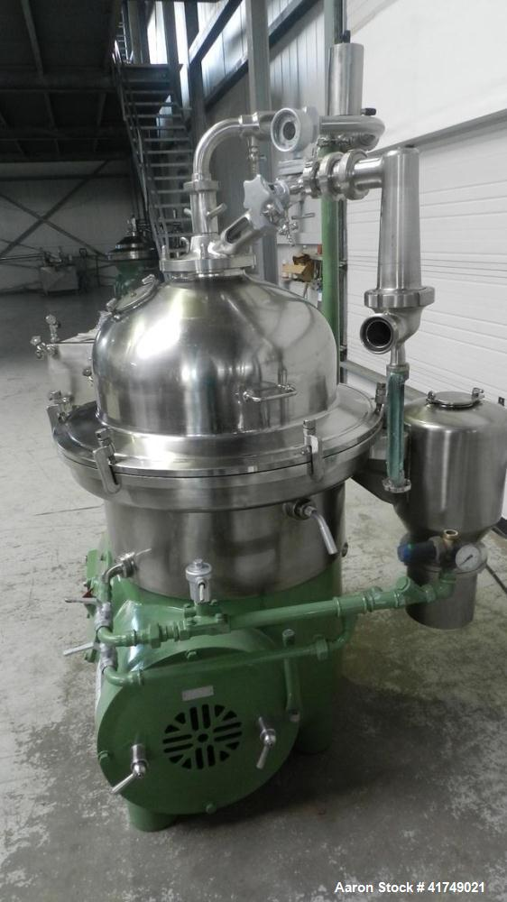 Used-Westfalia SB-80-47-076 Desludger Disc Centrifuge. Stainless steel construction (product contact area), max bowl speed 4...