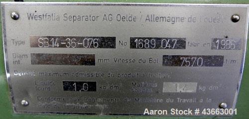 Used- Westfalia SB-14-36-076 Desluder Disc Centrifuge. 316 Stainless Steel on product contact areas. Maximum bowl speed 7570...